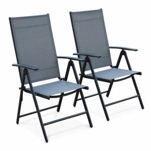 Lot de 2 fauteuils multi-positions Naevia en aluminium anthracite et textilène gris ALICE S GARDEN
