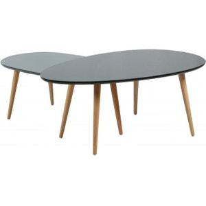 Lot de 2 Tables Basses Gigognes Laquées Noir et Gris BRADY DECLIKDECO
