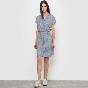 Bedrukte jurk met wikkelshirt effect, korte mouwen R essentiel