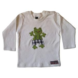 T-shirt bébé coton blanc customisé grenouille brodée en salopette RIKIKI KIDS