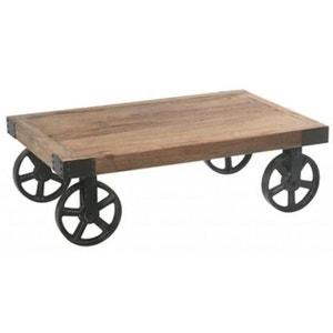 Table basse avec roulettes orme recyclé et métal LANDAISE PIER IMPORT