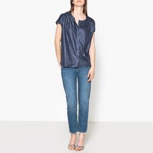 Camiseta de lino abotonada de manga corta MARIE SIXTINE