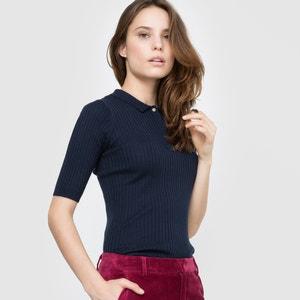 Пуловер с воротником поло из хлопка/шерсти La Redoute Collections