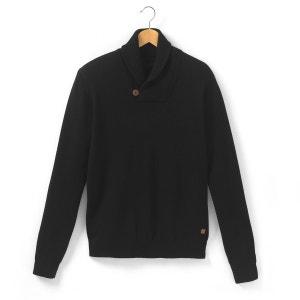 Pull col châle fermé par 1 bouton, pure laine d'agneau R essentiel