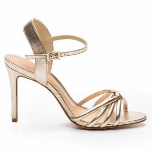 Sandales talons aiguilles cuir coloris or Ajili/Me COSMOPARIS