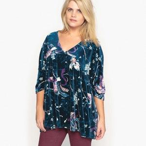 T-shirt met V-hals, bloemenprint, fluweel tricot CASTALUNA