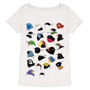 Tee-shirt femme en coton bio blanc Birds MONSIEUR POULET