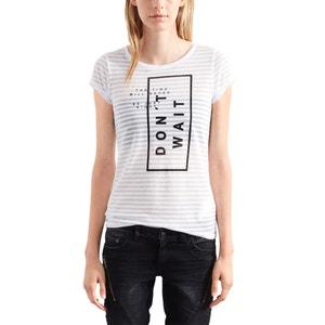 Gestreiftes T-Shirt, Rundhals, bedruckt S OLIVER