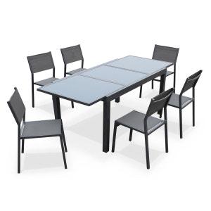 Salon de jardin 6 chaises table à rallonge extensible 150/210cm alu textilène ALICE S GARDEN