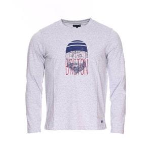 Tee-shirt col rond manches longues   en coton   chiné à imprimé   et   coton ARMOR-LUX