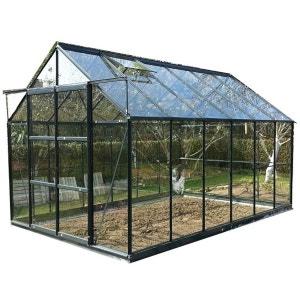 Serre de jardin grise SEKURIT 8,88m² avec base CHALET ET JARDIN
