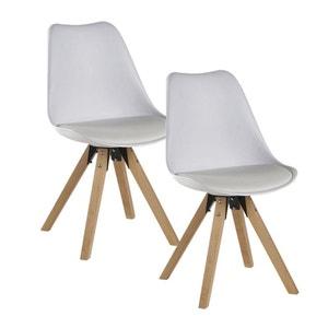 Lot de 2 chaises esprit Scandinave assise PU blanc et pieds bois 48x83x56cm TONY PIER IMPORT