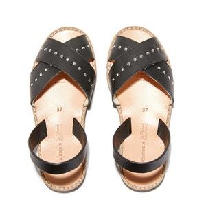 Sandales plates à bout ouvert en cuir AVARCA ROCK MINORQUINES