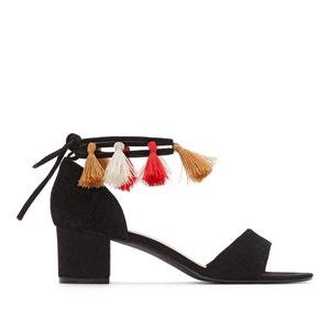 Sandales détail pompons pied large 38-45 CASTALUNA