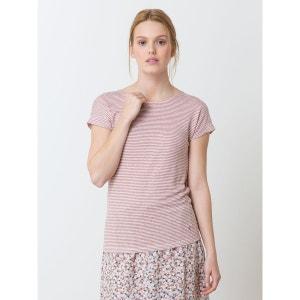 T-shirt manches courtes femme jersey de lin rayé, HENNA SOMEWHERE