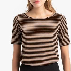 Gestreept T-shirt met boothals en korte mouwen