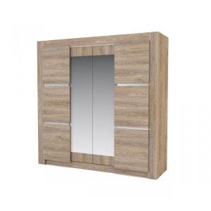 Armoire 4 portes imitation chêne naturel AR4002 TERRE DE NUIT