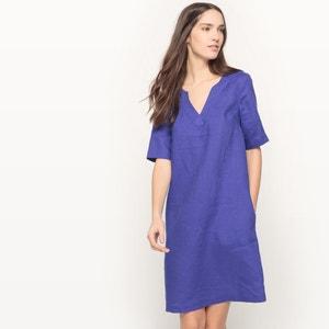 Lniana sukienka z krótkim rękawem R essentiel