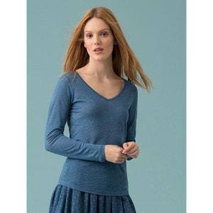 T-shirt femme col V en jersey de lin, IDYLE SOMEWHERE