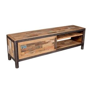 meuble tv bois recycl et mtal l160cm caravelle pier import - Meuble Tv Bois Et Metal