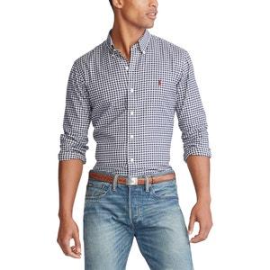 Recht custom fit hemd in twill met geruit motief