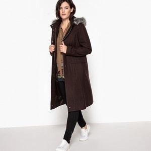 Płaszcz z kapturem, ze sztucznym futerkiem CASTALUNA