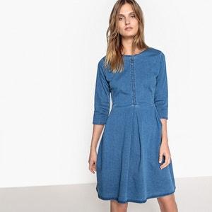 Korte effen jurk met 3/4 mouwen MADEMOISELLE R