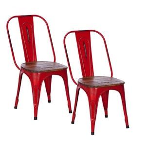 Lot de 2 chaises industrielles métal rouge bois recyclé LEEDS PIER IMPORT