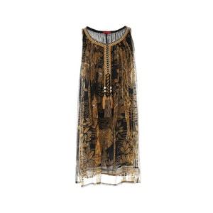 Geborduurde jurk zonder mouwen met pompons RENE DERHY