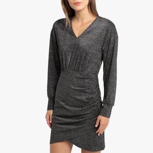 Платье короткое блестящее с длинными рукавами