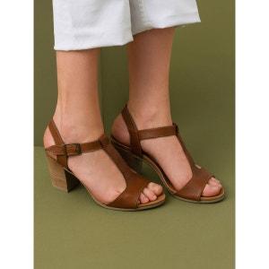 Sandales cuir de vachette salomés à talon, LAMIA SOMEWHERE