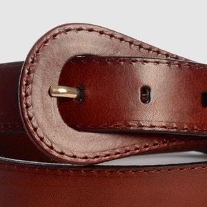 Cinturón con punta redonda, hebilla néo-retro R studio