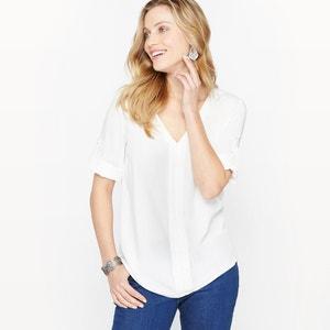 Unifarbene Bluse, fliessendes Material, V-Ausschnitt ANNE WEYBURN