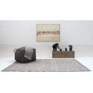 Tapis gris et blanc plat ethnique pour salon Labyrinth VIVABITA