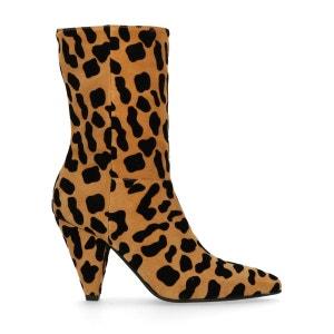 Bottes courtes à talon avec imprimé léopard SACHA