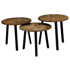 3x Tables d'appoint gigognes rondes Ø54 cm Woody COULEURS DES ALPES