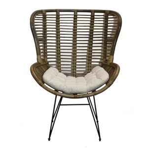 Fauteuil relax en rotin assise coussin écru et pieds métal CANADA PIER IMPORT