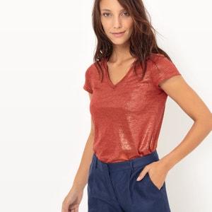 Tee-shirt brillant, 100% lin atelier R