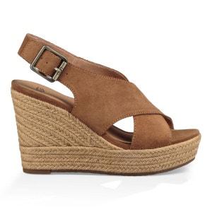 Sandales compensées, cuir, Harlow UGG