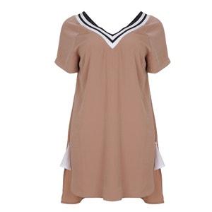 Plain Long Skater Dress with Short Sleeves MAT FASHION