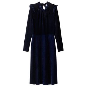 Wijd uitlopende effen jurk, 3/4 midi lengte MADEMOISELLE R