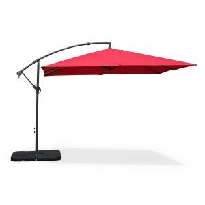 Parasol déporté carré 3x3m Hardelot rouge, mat excentré, 8 baleines, toile 180g ALICE S GARDEN