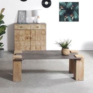 Table basse plateau métal gros pieds en bois  |  SN84 MADE IN MEUBLES