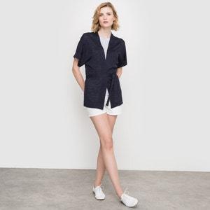 Belted Kimono-Style Linen Blend Cardigan atelier R