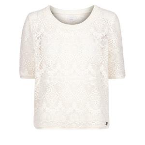 T-shirt met kant, korte mouwen en ronde hals NUMPH