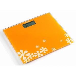 DOMO - Pèse-personne  en verre trempé - Design orange coloré ! DOMO