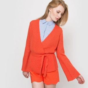 Kimono-style Wool and Mohair Cardigan SOFT GREY