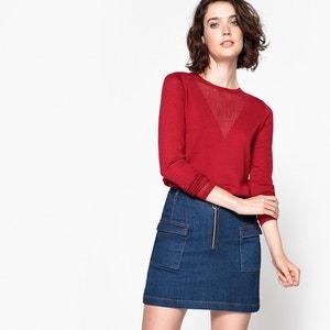 Pull haut ajouré, 100% laine La Redoute Collections