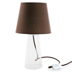 LAMPE EN VERRE CONIQUE ABAT JOUR MARRON NATACHA B