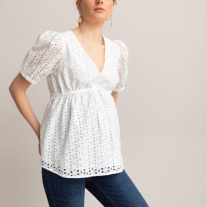 Blusa para embarazo con bordado inglés